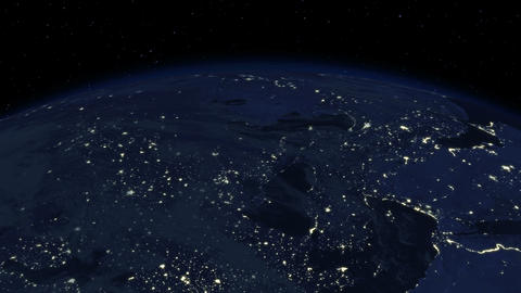 Beautiful Sunrise over the Earth. Cities at Night. Stock Video Footage