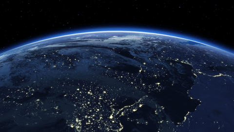 Beautiful Sunrise over the Earth. Cities at Night. Animation