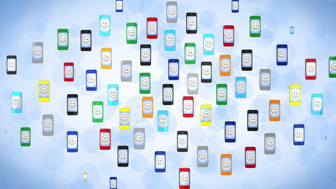 Social Network. Colored Phones. Alpha Channel Incl stock footage