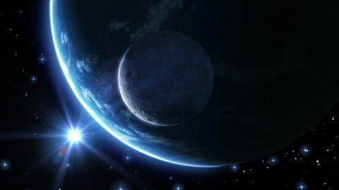 Earth, moon and sun. Blue light. HD 1080 Stock Video Footage
