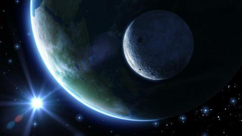 Earth, moon and sun. Blue light. HD 1080 Animation