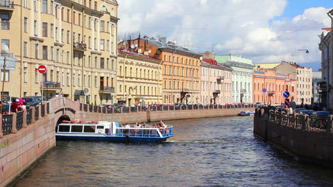 Moika River in St. Petersburg Stock Video Footage