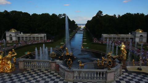 famous petergof fountains in St. Petersburg Russia Stock Video Footage