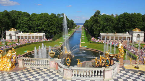 famous petergof fountains in St. Petersburg Russia Footage
