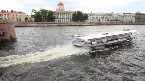 meteor - hydrofoil boat on Neva river in St. Peter Footage
