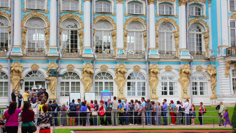 Catherine Palace in Pushkin, St. Petersburg - time Stock Video Footage
