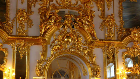 hall palace interior in Pushkin St. Petersburg Rus Stock Video Footage