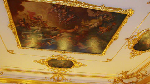 ceiling in Pushkin St. Petersburg Russia Stock Video Footage