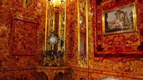 amber room in Pushkin St. Petersburg Russia Stock Video Footage