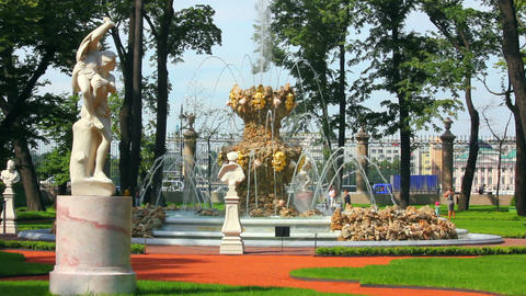 renovated Summer garden park in St. Petersburg Rus Stock Video Footage