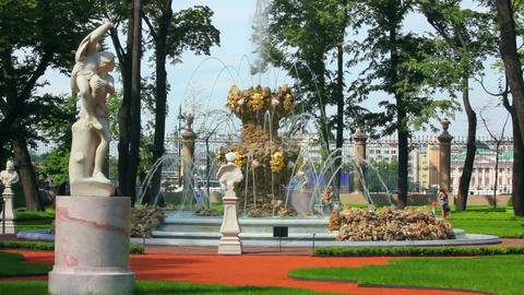 renovated Summer garden park in St. Petersburg Rus Footage