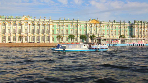 Hermitage on Neva river in St. Petersburg Russia - Stock Video Footage