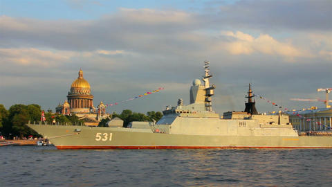 military ship on Neva River - day of the Navy in S Stock Video Footage