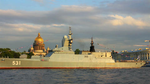 military ship on Neva River - day of the Navy in S Footage