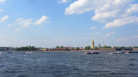 Peter and Paul fortress on Neva river in st. Peter Stock Video Footage