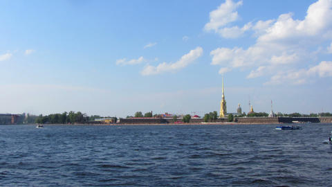 Peter and Paul fortress on Neva river in st. Peter Footage