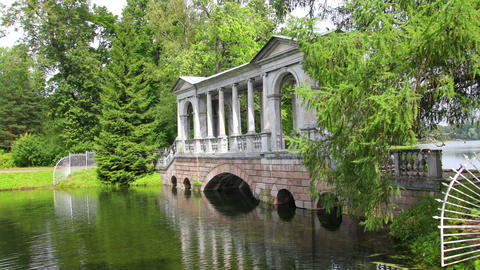 pavilion on lake in Pushkin park St. Petersburg Ru Stock Video Footage