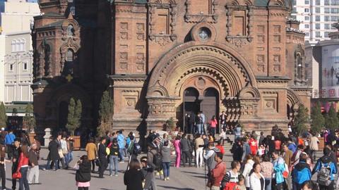 Harbin 14 St Sophia church pan up Stock Video Footage