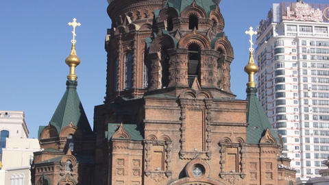 Harbin 14 St Sophia church pan up Stock Video Footage