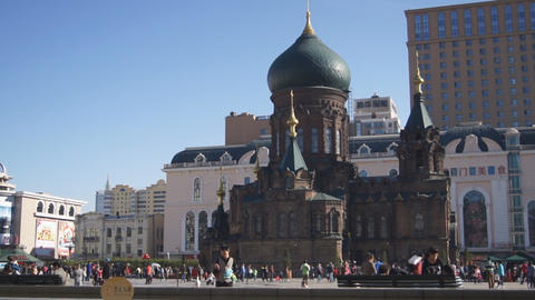 Harbin 16 St Sophia church square Stock Video Footage