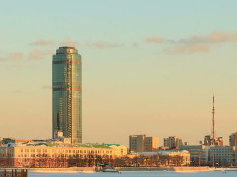 High-rise buildings of the city. Russia, Yekaterin Stock Video Footage