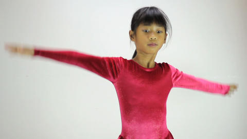Cute Asian Girl Does Interpretive Dance Footage