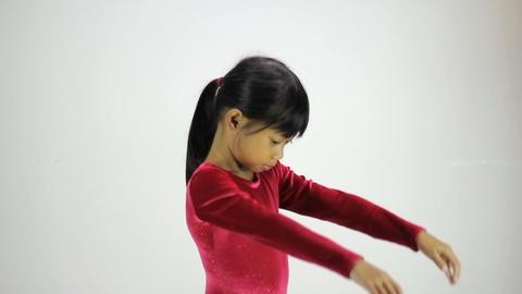 Cute Asian Girl Does Interpretive Dance Stock Video Footage
