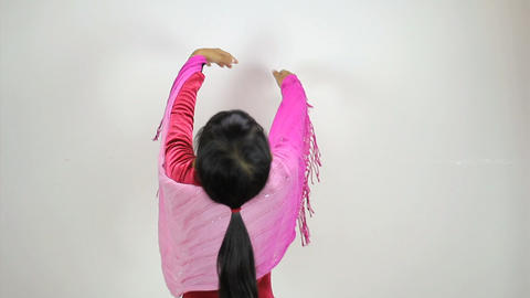 Little Asian Girl Does A Creative Dance Stock Video Footage