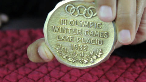 Olympic Gold Medal From 1932 Lake Placid Games Stock Video Footage