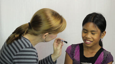 Young Asian Girl Gets Make Up For First Time Stock Video Footage