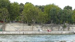 RIVER BANK OF SEINE, PARIS, FRANCE. (PARIS SEINE R Stock Video Footage