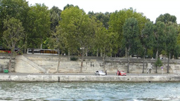 RIVER BANK OF SEINE, PARIS, FRANCE. (PARIS SEINE R Footage