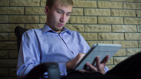 Young Businessman With Tablet Computer 3 Stock Video Footage
