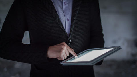 Man Hand Touching Screen On Digital Tablet 1 Stock Video Footage