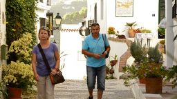 Tourists In A Typical Street Of Andalusia stock footage