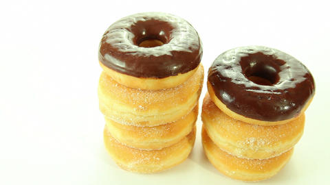Chocolate Donuts On White Background stock footage