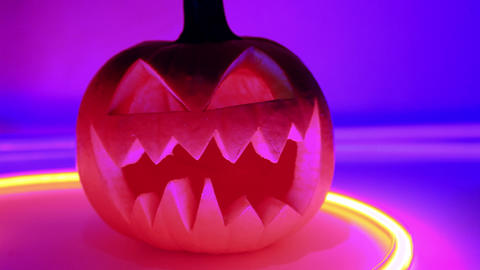 Halloween pumpkin, horror scary jack o lantern Footage