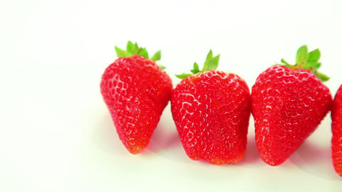 Beautiful red strawberry on white background Stock Video Footage