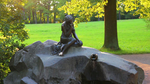 girl with jug statue in Pushkin park St. Petersbur Stock Video Footage