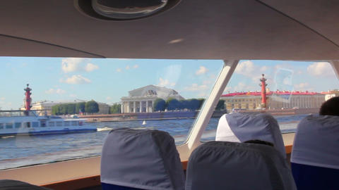 sail on Neva River in passenger boat - St. Petersb Stock Video Footage