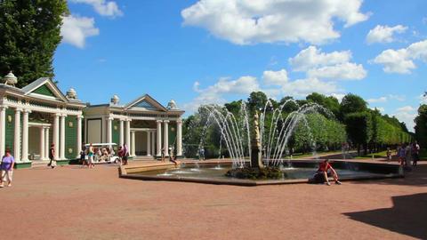Eva fountain in petergof park St. Petersburg Russi Stock Video Footage