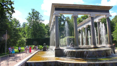Lion cascade fountain in petergof park St. Petersb Stock Video Footage
