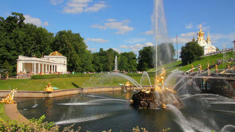 famous petergof Samson fountain in St. Petersburg  Footage