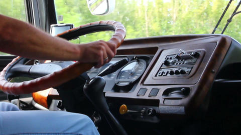 man's hand driving in bus Stock Video Footage