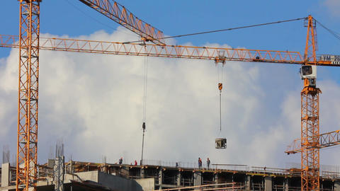 working construction cranes Footage