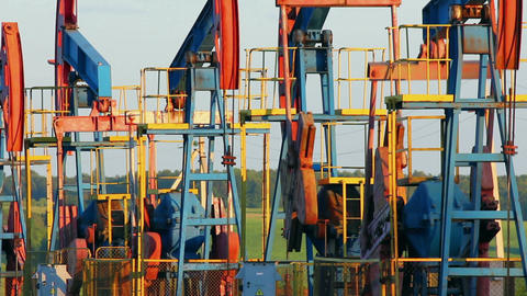 many working oil pumps Footage
