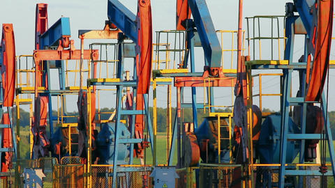 many working oil pumps Stock Video Footage