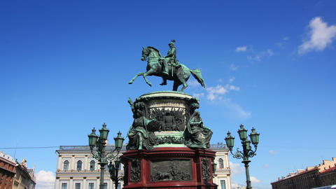 Nikolai emperor statue in St. Petersburg Russia - Stock Video Footage