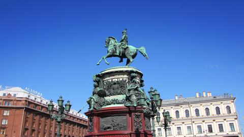 Nikolai emperor statue in St. Petersburg Russia - Stock Video Footage
