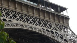 Close up view of lower part of Eiffel Tower, Paris, France Footage